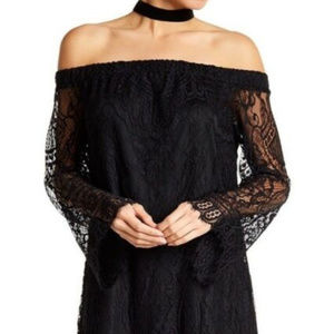 NWT Love Fire Black Lace off the shoulder dress